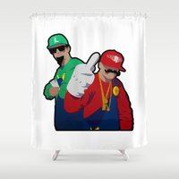 luigi Shower Curtains featuring Luigi and Mario rap clash by Komrod