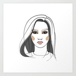 Asian woman with long hair. Abstract face. Fashion illustration Art Print