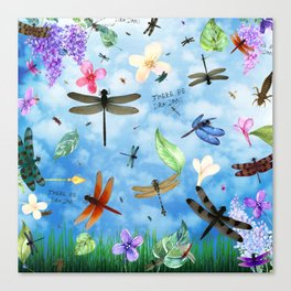 There Be Dragons Whimsical Dragonfly Art Canvas Print