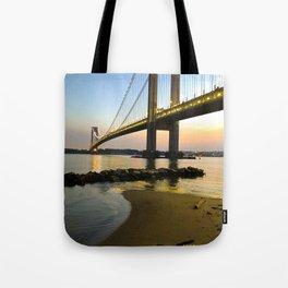 Sunset at the Verrazzano-Narrows Bridge Tote Bag