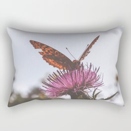 Aphrodite Fritillary Butterfly on Thistle Photography Rectangular Pillow