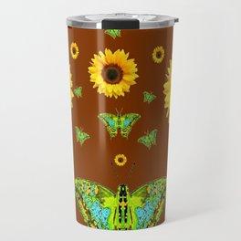 COFFEE BROWN SUNFLOWERS & GREEN MOTHS Travel Mug