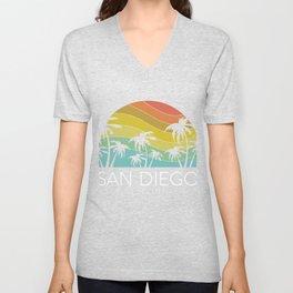 San Diego California Beach SoCal Retro Vintage Central Cali UCSD Escondido La Jolla Unisex V-Neck
