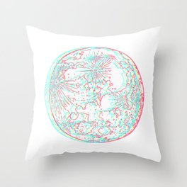 3d moon, red blue dimensions of the bright side  Throw Pillow