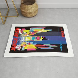 1960 New York Fly TWA Vintage Airline Poster Rug