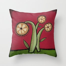 Gold Flowers on Red Background Throw Pillow