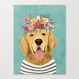Golden Retriever Dog with Floral Crown Art Print – Funny Decoration Gift – Cute Room Decor – Poster Canvas Print