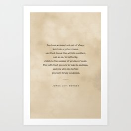 Jorge Luis Borges Quote 01 - Typewriter Quote on Old Paper - Minimalist Literary Print Art Print