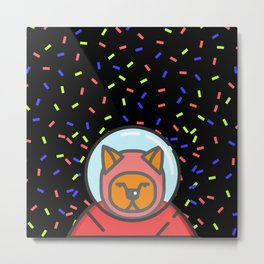Cat Astronaut Black Pattern Metal Print