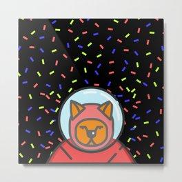 Cat Astronaut Black Pattern Metal Print