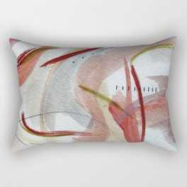 Lightly: an abstract mixed media piece in pinks, green, red, black and white Rectangular Pillow