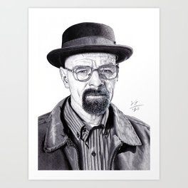 Portrait Walter White (Heisenberg) handmade Drawing, Breaking Bad, Realistic Drawing, Pencil Art Print