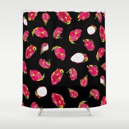 Dragon Fruit on Black Shower Curtain