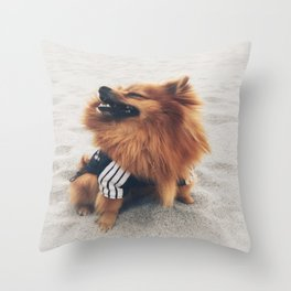 Beach Life Pomeranian Throw Pillow