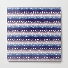 Mountains & Moons Stripe Metal Print