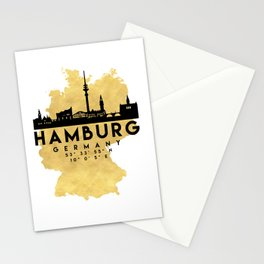 HAMBURG GERMANY SILHOUETTE SKYLINE MAP ART Stationery Cards