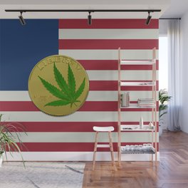 In Weed We Trust - Coin on USA flag Wall Mural