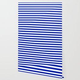Cobalt Blue and White Horizontal Beach Hut Stripe Wallpaper