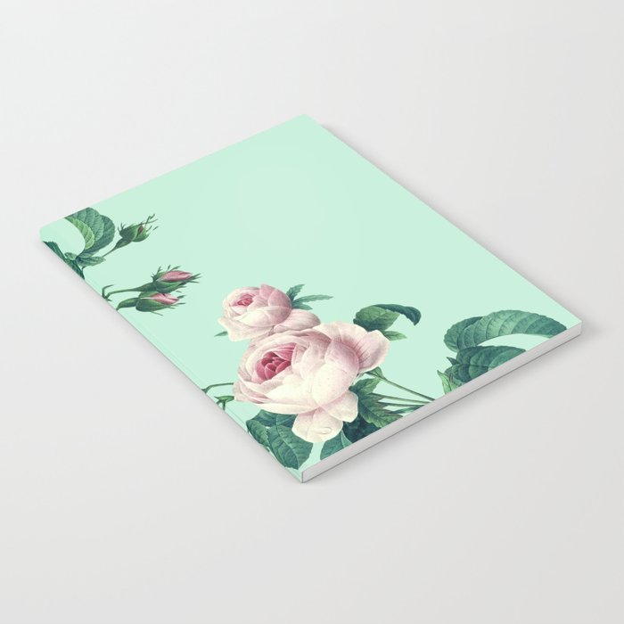 Roses Mint Green + Pink Notebook