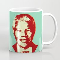 mandela Mugs featuring NELSON MANDELA by mark ashkenazi