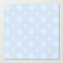Delicate Blue Winter Snowflake Pattern Canvas Print