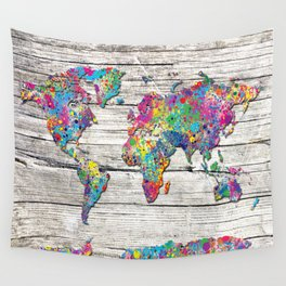world map wood 4 Wall Tapestry