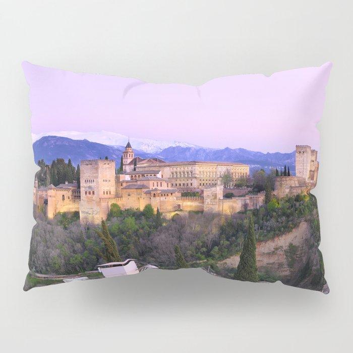 La Alhambra, Sierra Nevada and Granada. At pink sunset Pillow Sham