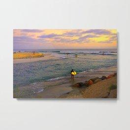Surfer, Sunset, Cardiff, CA Metal Print