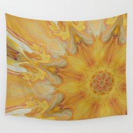 Fiery Sun - Offset Mandala Kaleidoscope Design Wall Tapestry