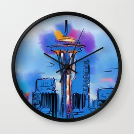 The Space Needle In Soft Abstract Wall Clock