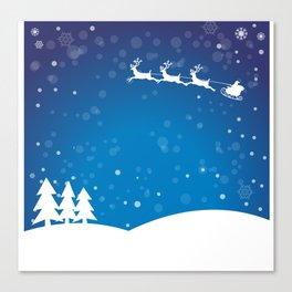 Santa's sleigh ride on a blue background Canvas Print