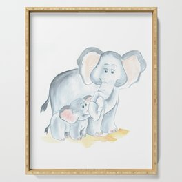elephants watercolor painting, baby elephant with mom Serving Tray