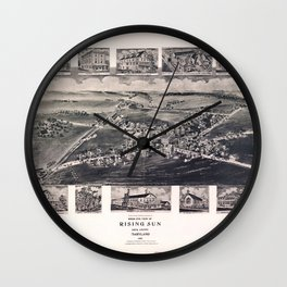 Bird's Eye View of Rising Sun, Maryland (1907) Wall Clock