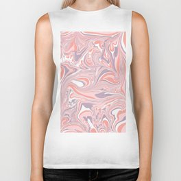 Pink & White marble Swirls Biker Tank