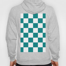 Large Checkered - White and Dark Cyan Hoody