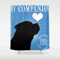 rottweiler Shower Curtains featuring ROTTWEILER – My Companion - Blue by TRArtStudios