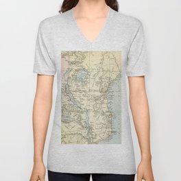 East Africa Vintage Map Unisex V-Neck