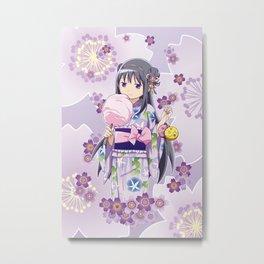 Homura Akemi (Yukata & Cherri Blossom edit) Metal Print