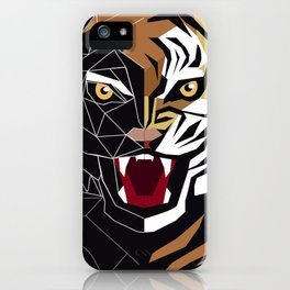 Graphic image of a growling tiger iPhone Case