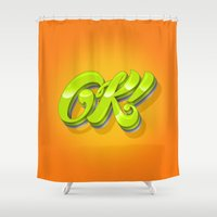 kim sy ok Shower Curtains featuring Ok by Roberlan Borges