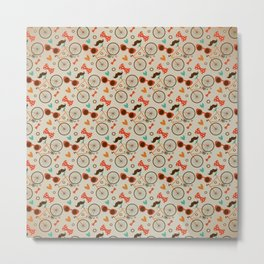 Colorful Hipster Elements Pattern on beige Metal Print