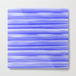 Girly Artsy Ocean Blue Abstract Stripes Metal Print