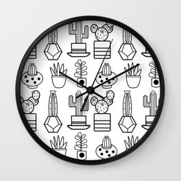 Black and White Cactus Family Wall Clock