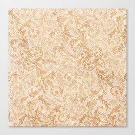 Elegant vintage faux gold glitter antique floral damask Canvas Print