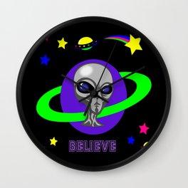 Grey Alien Blacklight Purple Believe Wall Clock