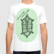 Turtle on Green White MEDIUM Mens Fitted Tee