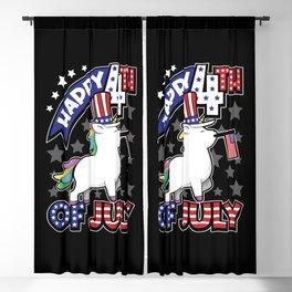 Happy Fourth Of July - Unicorn USA Flag Blackout Curtain