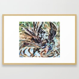 Bathing Grackle Framed Art Print