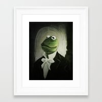 kermit Framed Art Prints featuring Sir Kermit by LogicINK