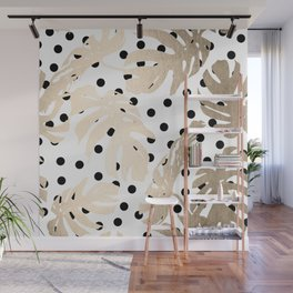 Simply Tropical White Gold Sands Palm Leaves on Dots Wall Mural